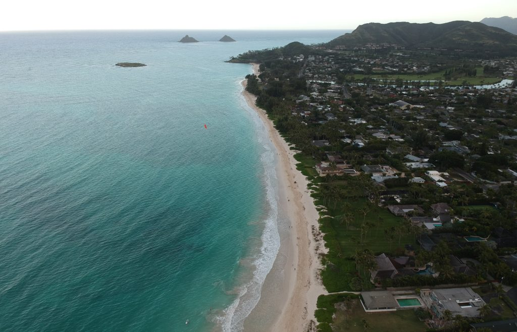 Drone view of Kailua Beach The Ultimate Guide of Oahu Hawaii, best beaches on Oahu