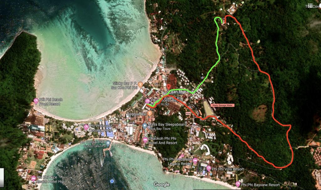 Phi Phi Island ViewPoint Hike - Hiking Trail Map