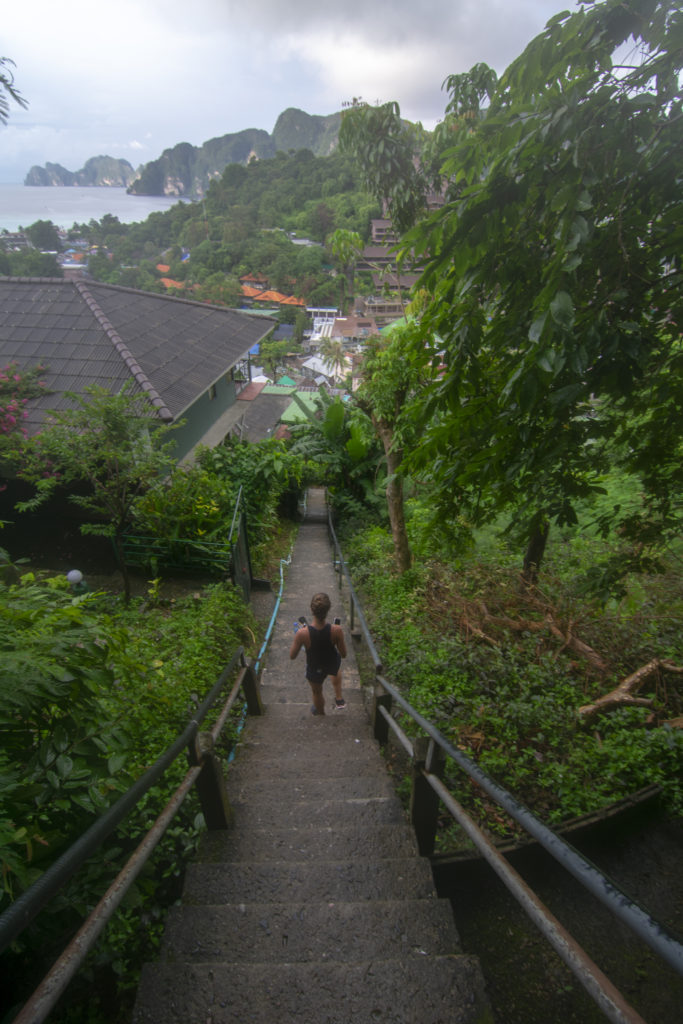 Phi Phi Island Viewpoint Hike Looking down the stairs
