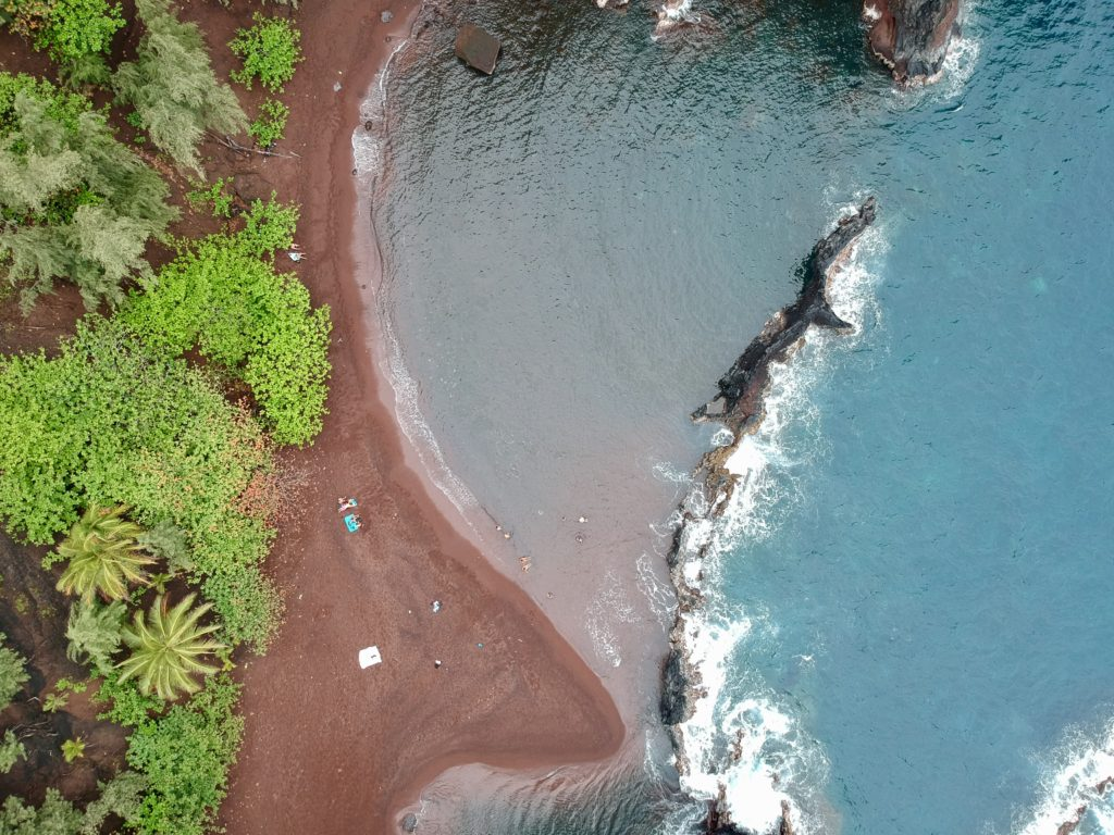 Maui's Red Sand Beach on The Road to Hana in Maui. What to do in Maui.