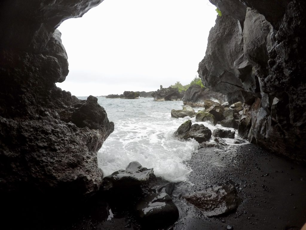 Cave at the Black Sand Beach The Black Sand Beach on The Road to Hana in Maui. What to do in Maui.