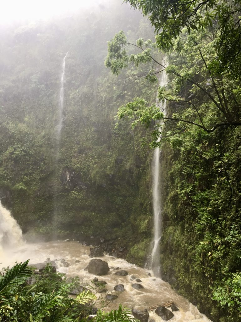 Waikani Falls on The Road to Hana in Maui. What to do in Maui.