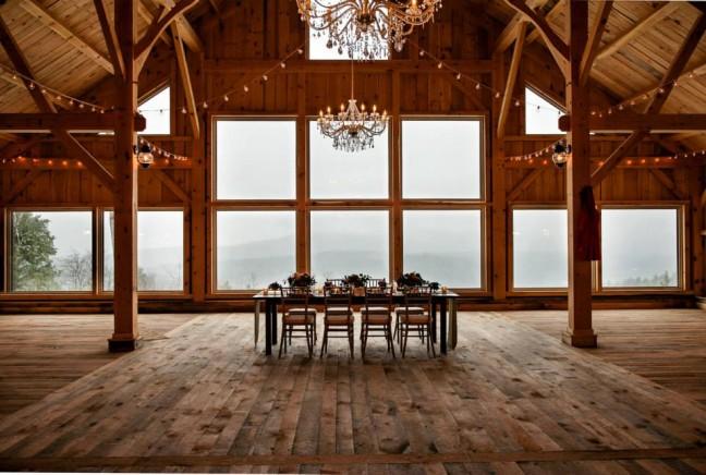 Inside the barn at Granite Ridge Estate and Barn in Norway, ME.