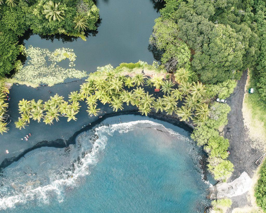 Aerial view of Punalu'u Black Sand Beach.