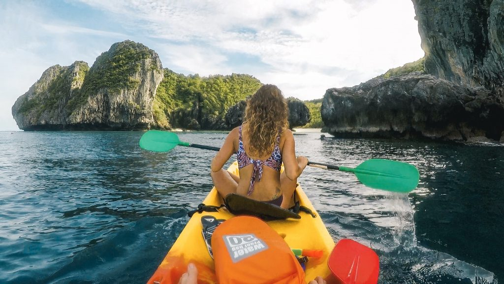 Kayaking to Nui Beach Phi Phi Islands Thailand