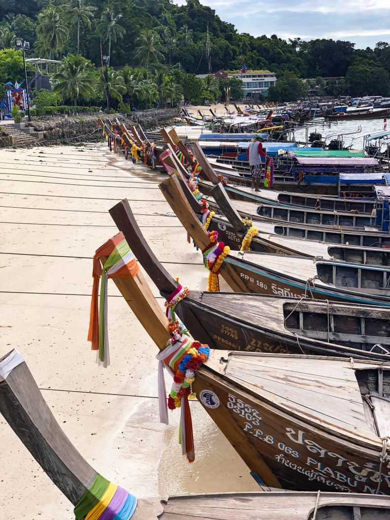 Longtail boats phi phi islands thailand-min