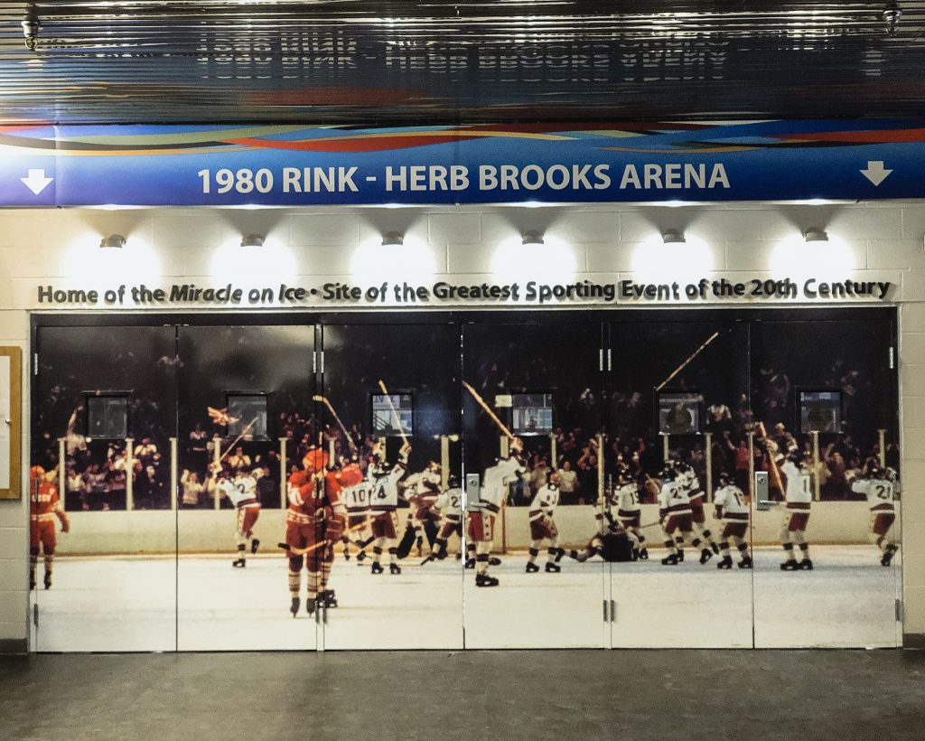 The entrance to the infamous Herb Brooks Arena. 1980 Miracle. What to do in Lake Placid. A weekend getaway in Lake Placid.