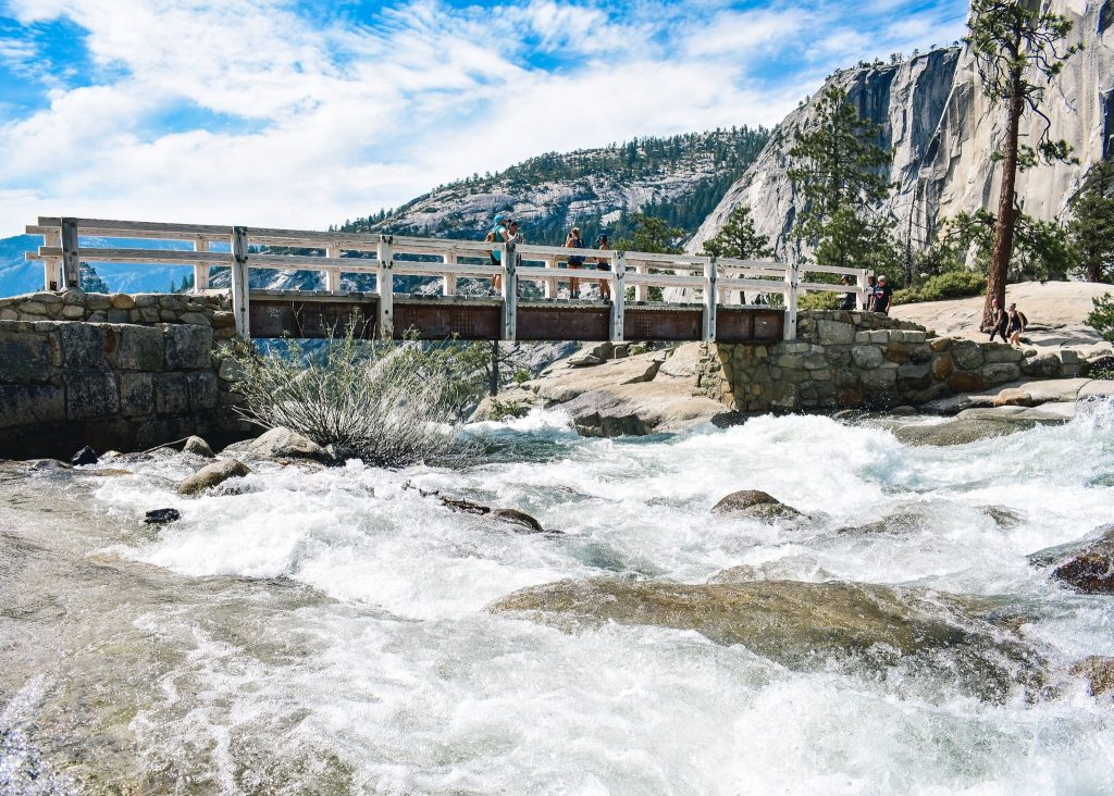 At the top of mist trail, Yosemite National Park 4 Day Itinerary - Hiking the mist trail on our 4 day hiking itinerary in Yosemite National Park, what to do and where to stay.
