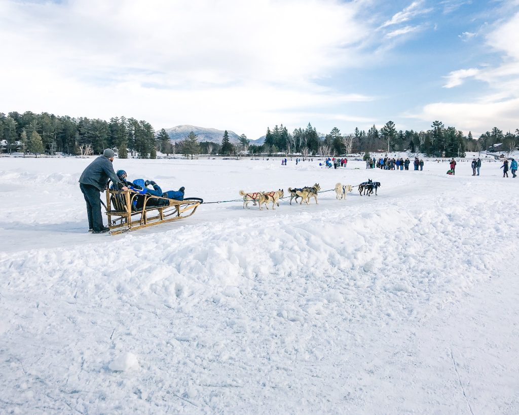 Dog Sled Rides on Mirror Lake in Lake Placid. Where to eat in Lake Placid. A weekend getaway in Lake Placid. What to do in Lake Placid