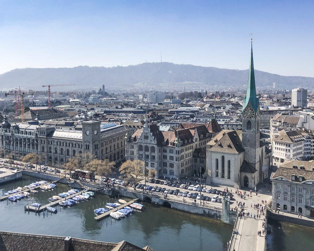 View from Grossmünster Church west. How to Spend a Day in Zurich, Switzerland.