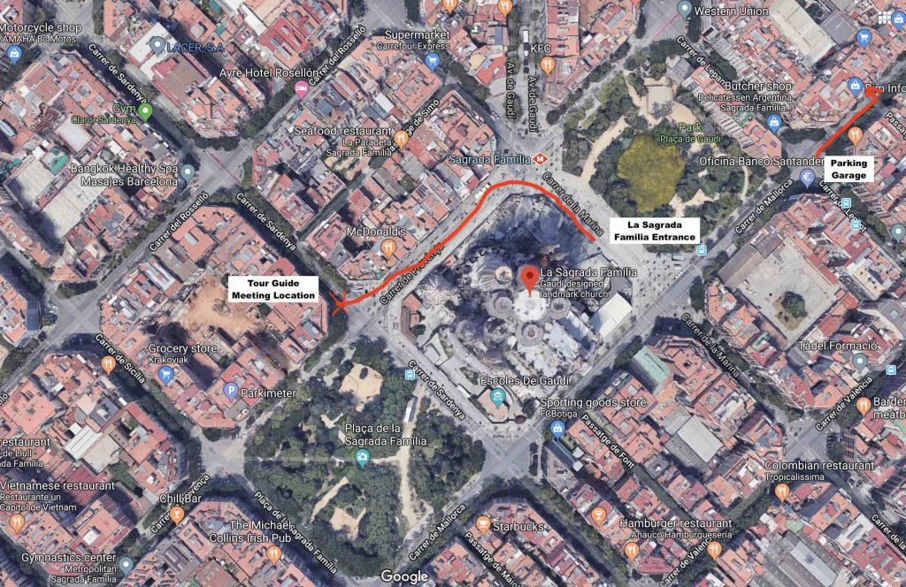 The best way to see La Sagrada Familia and where to find the group Tour meeting Location Point