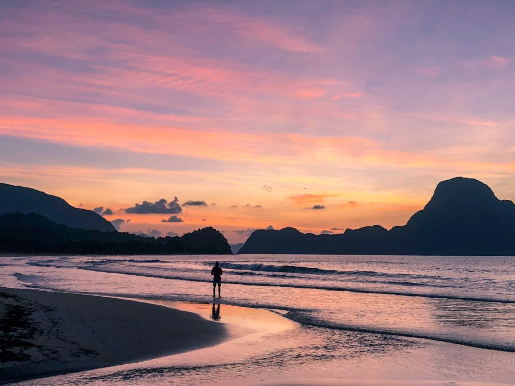 Sunset at Lio Beach, Palawan, Philippines overlooking the limestone cliffs