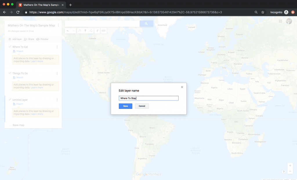 Add to layers - how to use google maps for a vacation