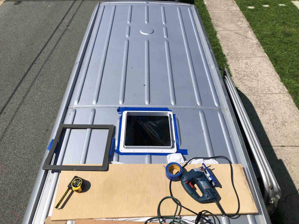 How To Install A MaxxFan Deluxe On A Sprinter Van cutting the hole in the roof