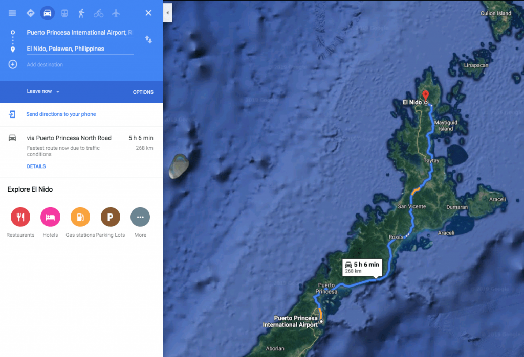 How far is Puerto Princessa Airport from El Nido Palawan - 5 hours if you drive fast