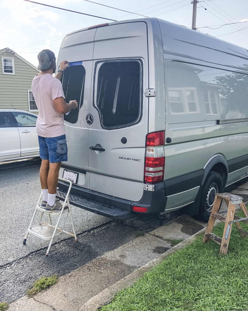 How to install back door windows on a mercedes sprinter van - applying the primer