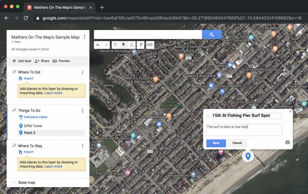 How to use google maps to plan a trip adding custom markers