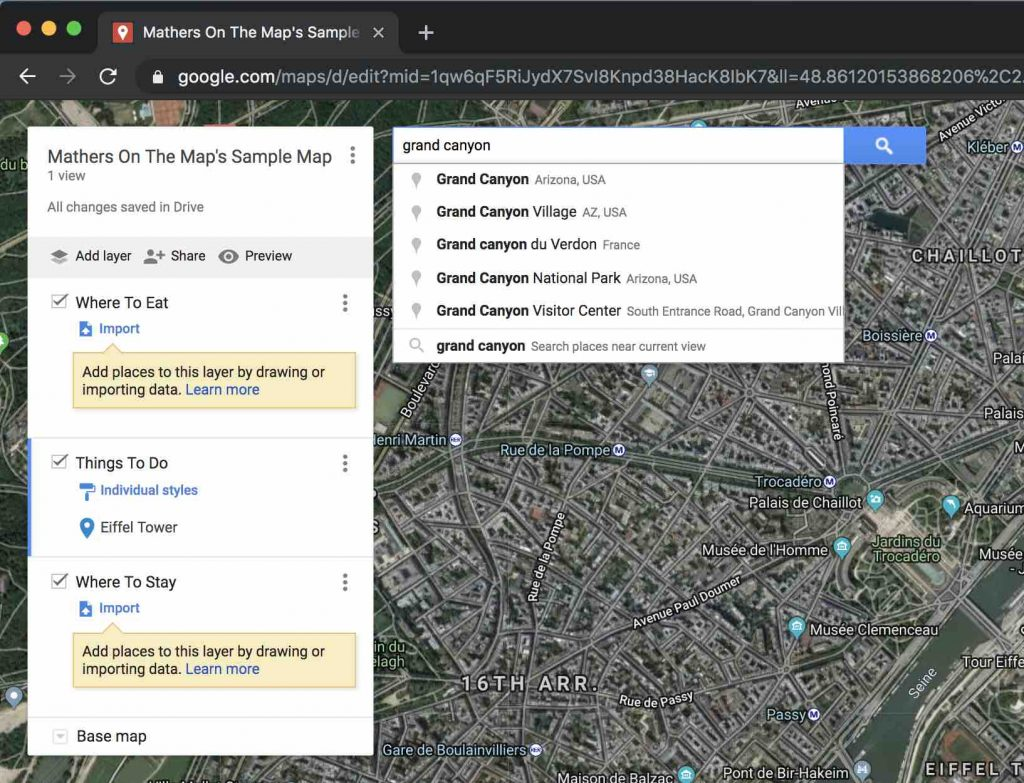 How to use google maps to plan a vacation - searching for a point of interest
