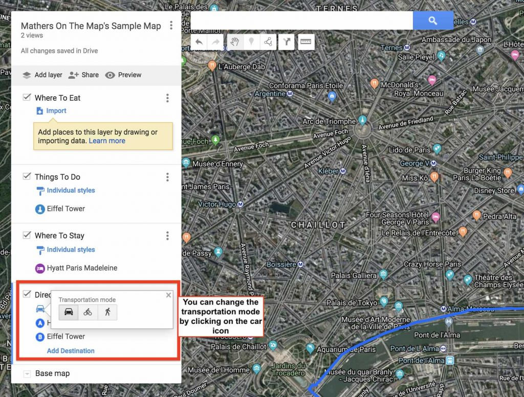 How to use google my maps to plan a trip - adding directions changing transportation mode