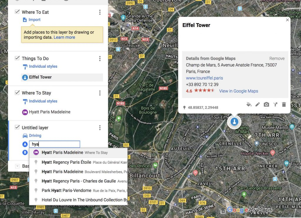 How to use google my maps to plan a trip - adding directions for display