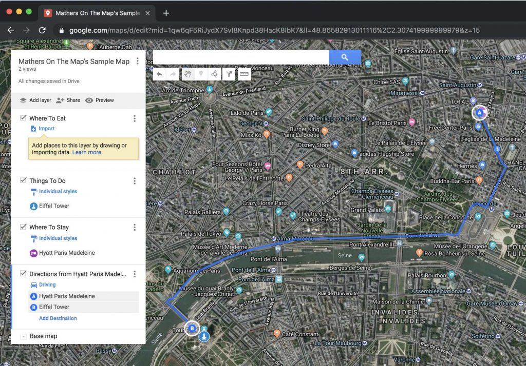 How to use google my maps to plan a trip - adding directions for visual