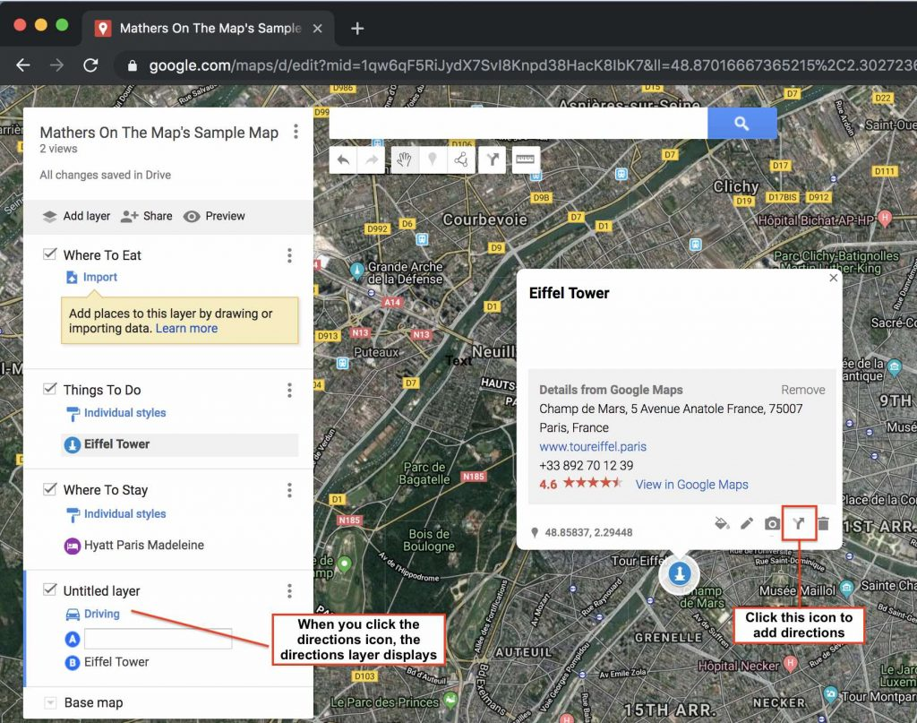 How to use google my maps to plan a trip - adding directions