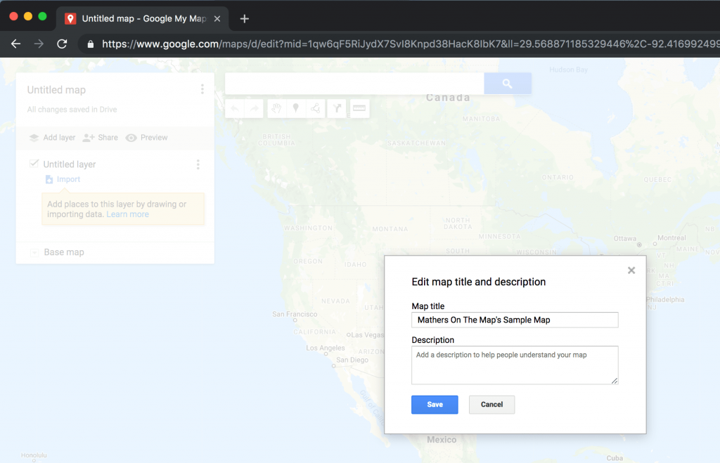 Naming your map - how to use google maps to plan a vacation - easy step by step guide