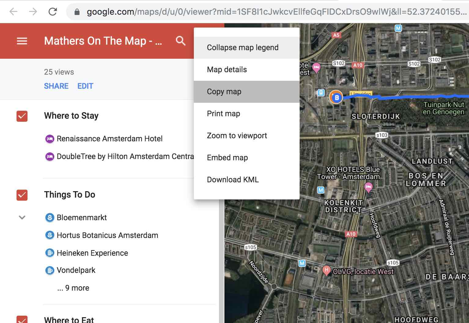 Click copy map to save the map as your own - how to plan a vacation using google my maps.