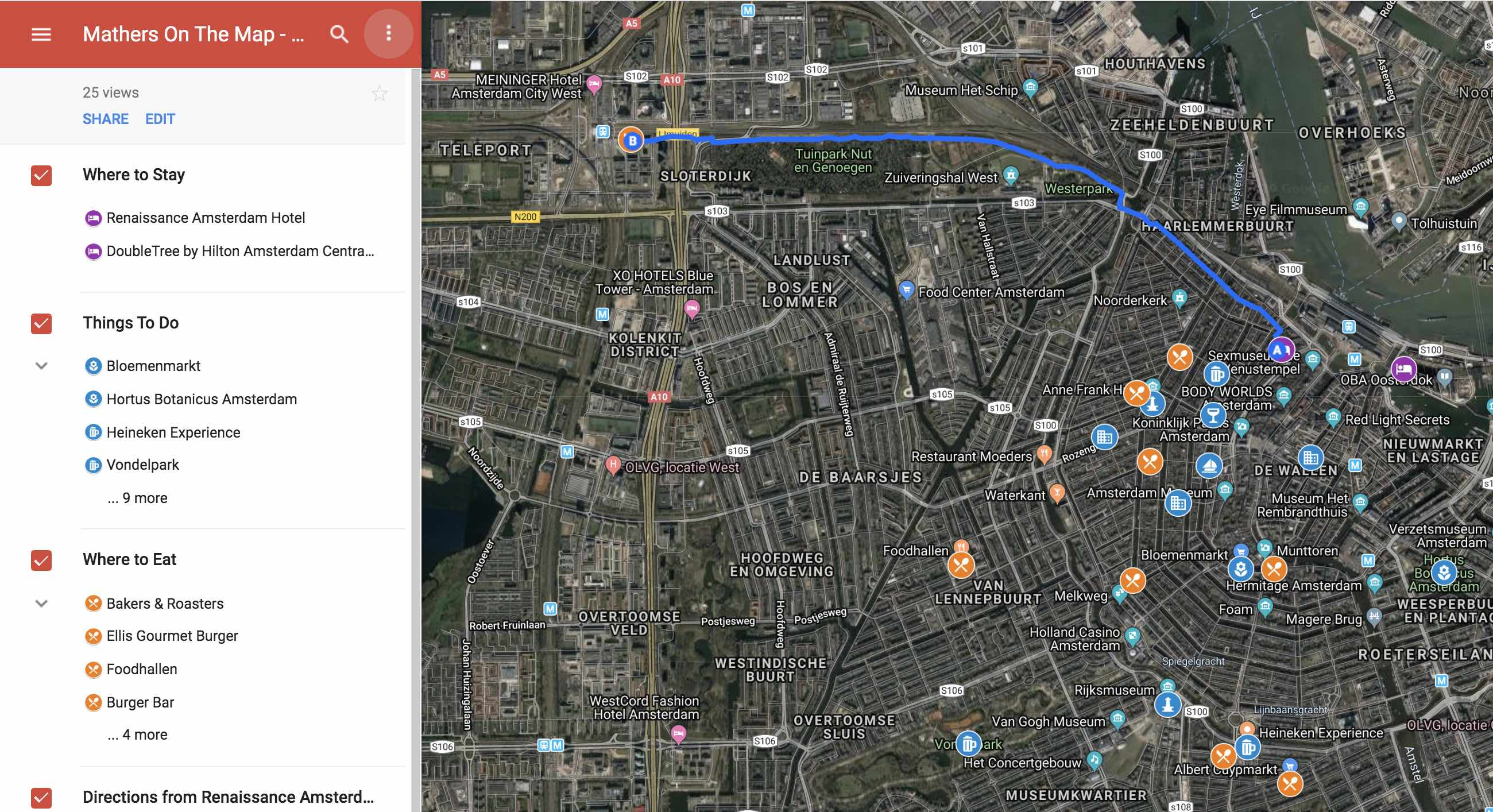 Click the 3 vertical dots on the top left tool panel - how to plan a trip using google my maps