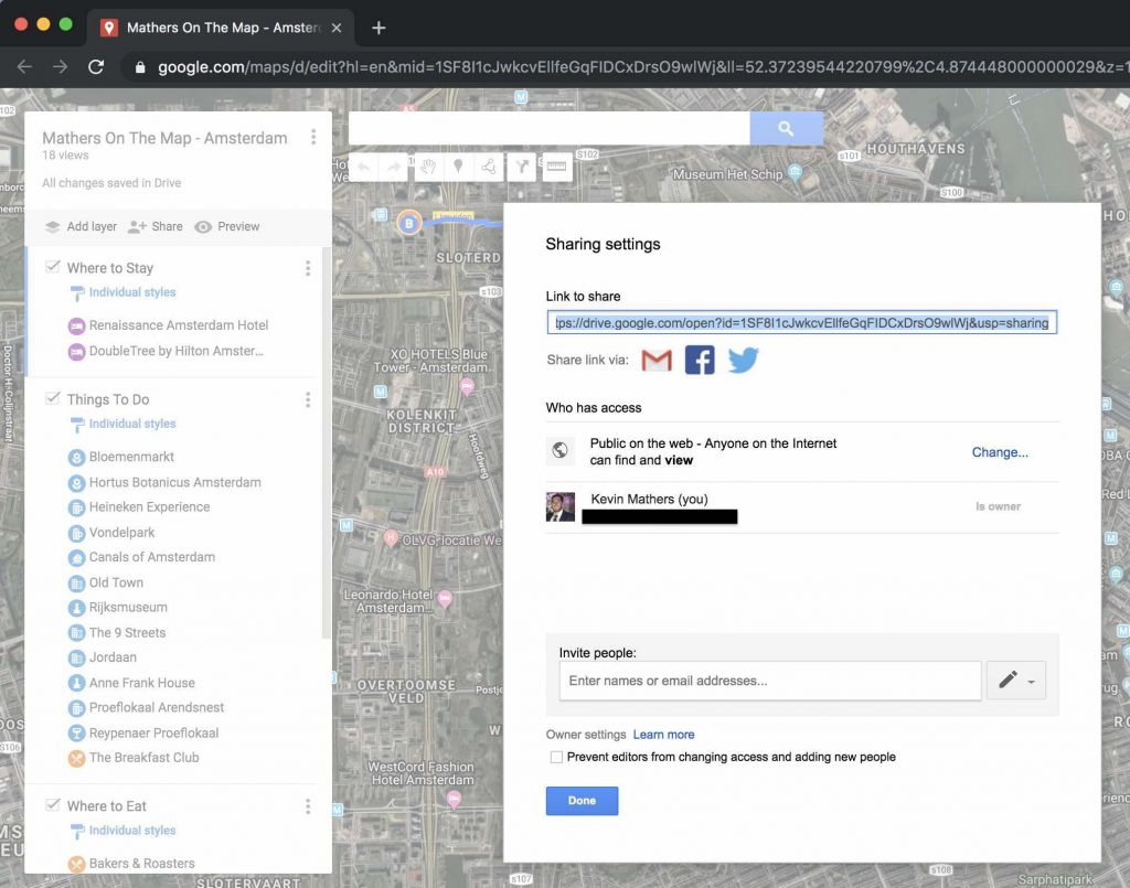Click the share button to share your my maps - how to use google maps to help plan a trip