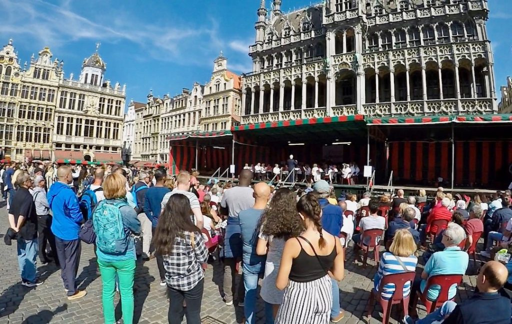 Grand Place - listening to music - what to do in brussels