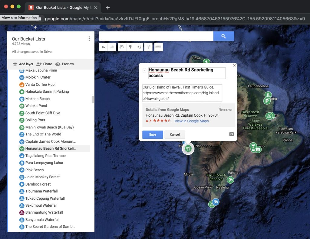 How to use google my maps to plan a vacation or trip - changing description on a marker