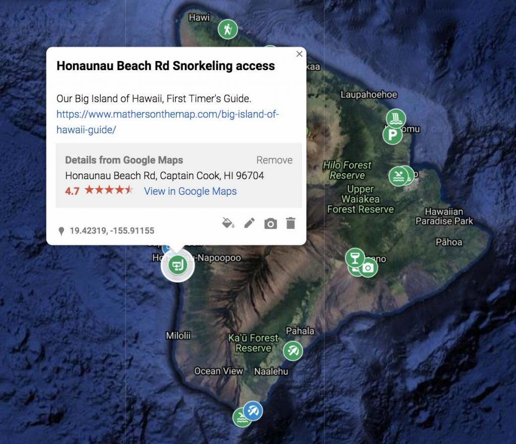 How to use google my maps to plan a vacation or trip - changing description on a marker clicking save adds url