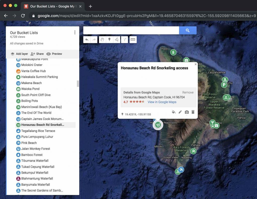 How to use google my maps to plan a vacation or trip - changing description on a marker popup