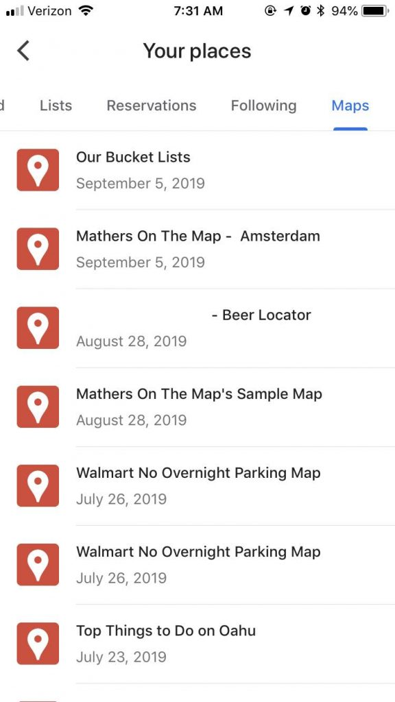 Select Your map from the list available - how to use google my maps to plan a vacation
