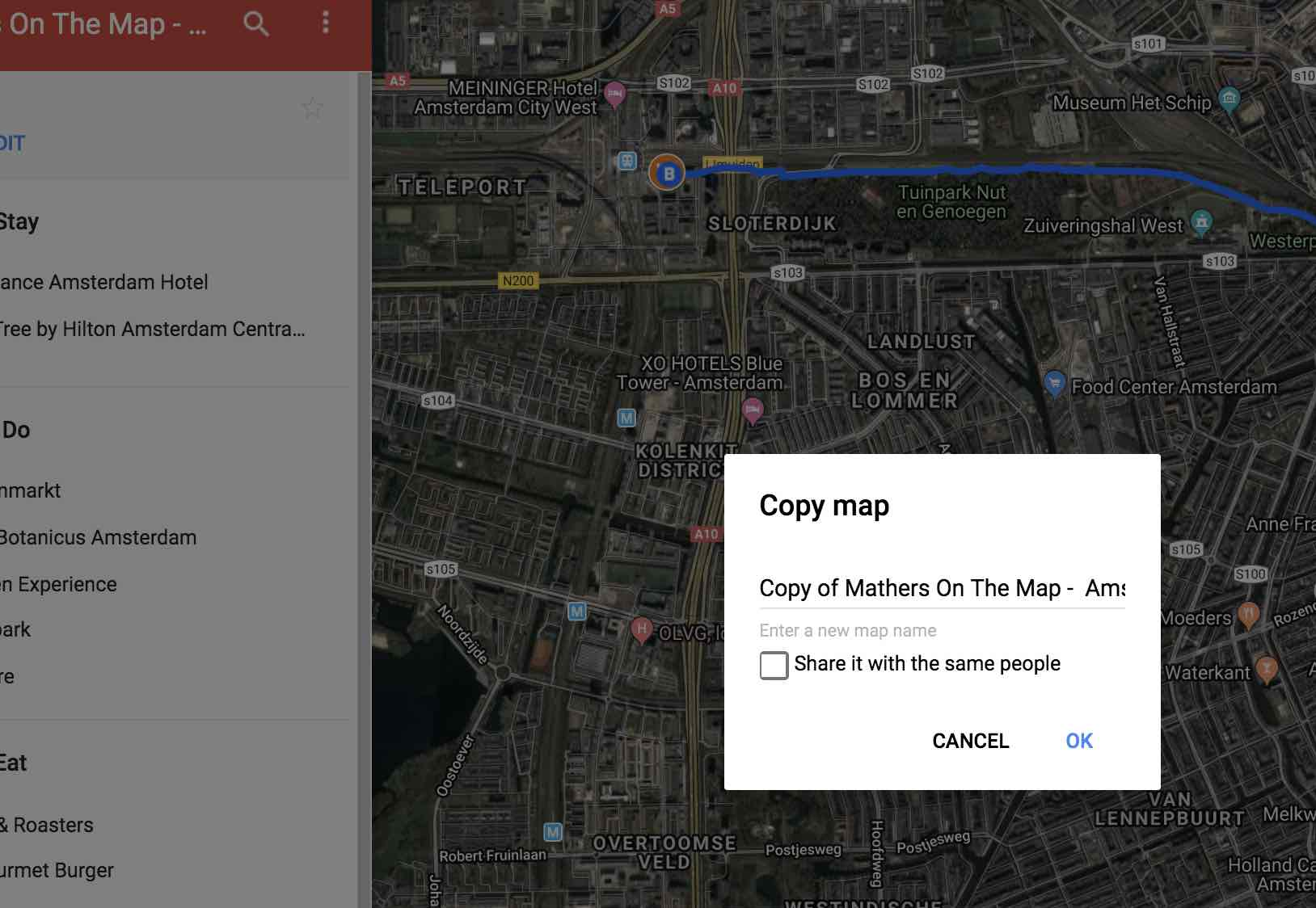 change the name of the copied map to a name you will recognize - how to plan a trip using google my maps