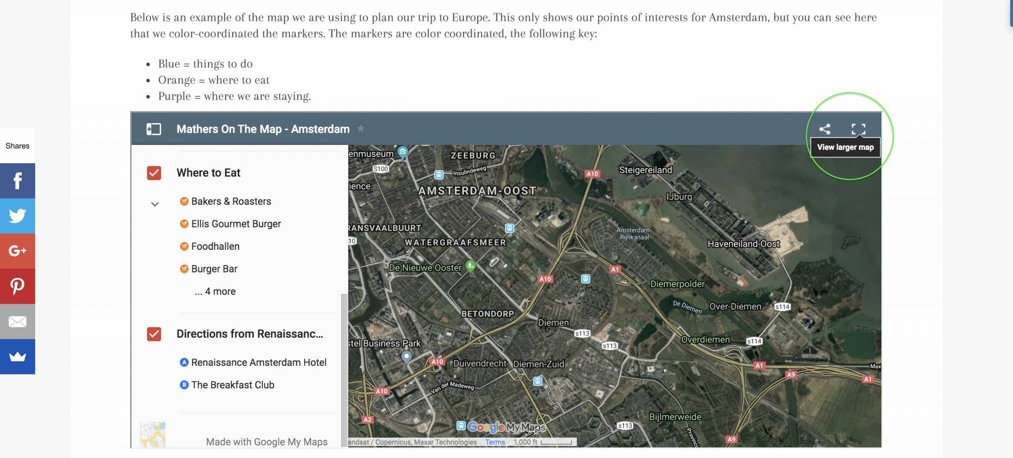 click view larger map to make a copy of your own - how to plan a vacation using google my maps