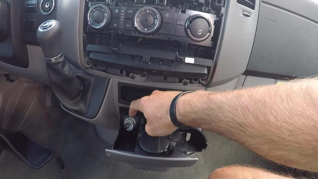 Splice your power wire to the power wire leading to the cigarette 12v outlet - how to install rearview camera to sprinter van