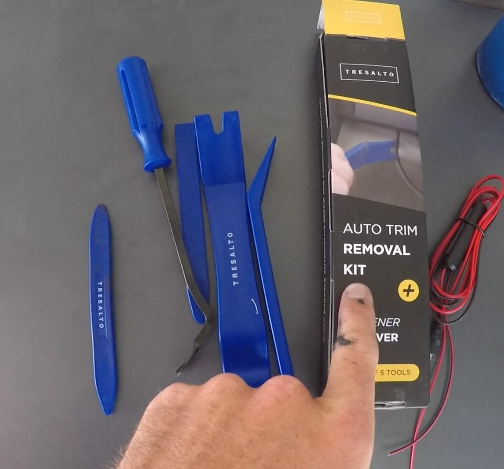 trim removal tool kit for installing a back up camera on a sprinter van