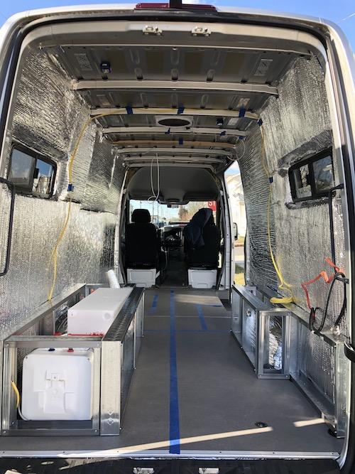 Van insulation with reflectix vapor barrier