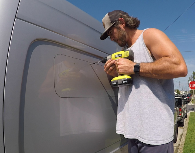 drill hole into the wall of van - how to install side panel bunk window