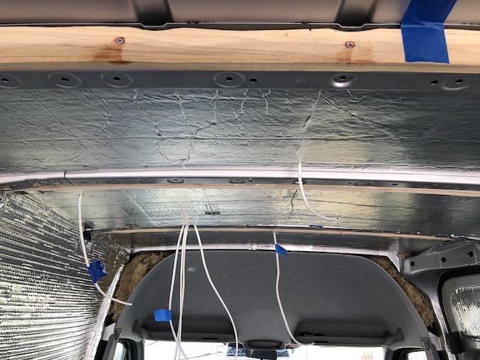rigid foam board on the ceiling of our van