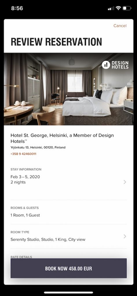 Cash price for Marriott Helsinki