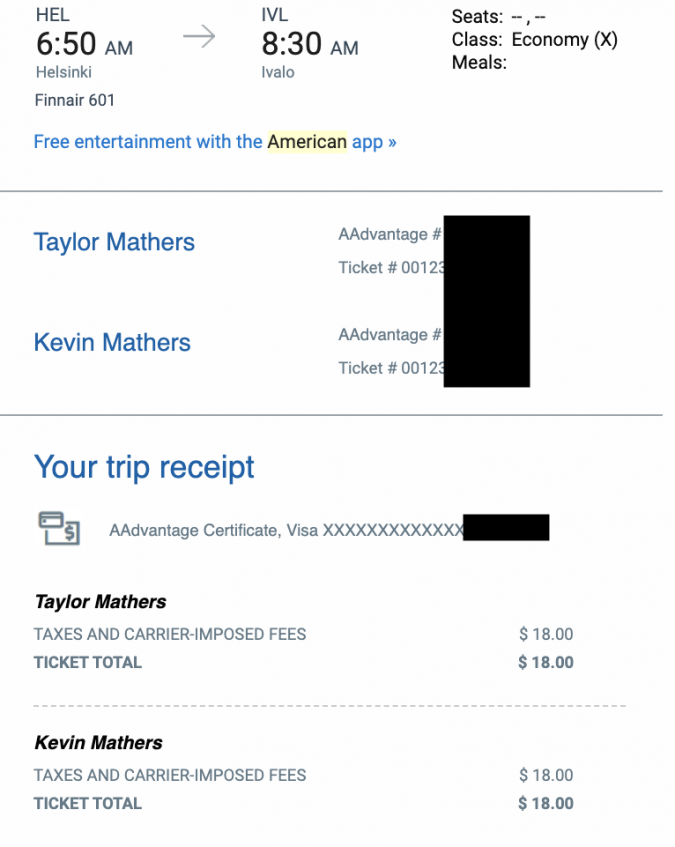 American Airlines Redemption flying to europe for free