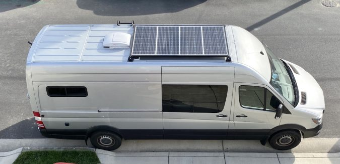 Installing a custom solar roof rack on our diy sprinter van which includes 4 - 100 watt solar panels of Renogy mono-crystalline panels