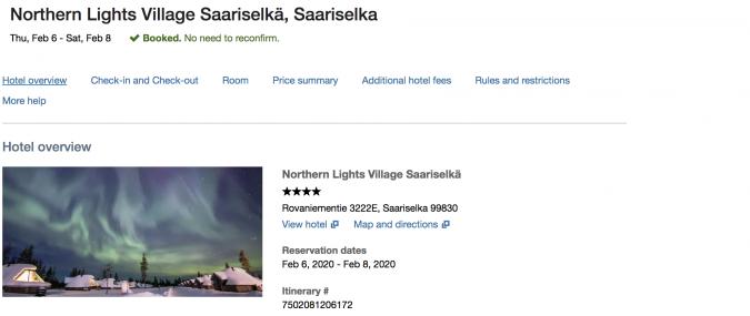 Northern Lights Village Saariselka Northern Finland - paid with points