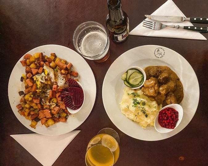 How to make the most out of two days in Stockholm. Where it eat Stockholm. Sweden's Pickwick Pub and Restaurant. Swedish meatballs and hash.