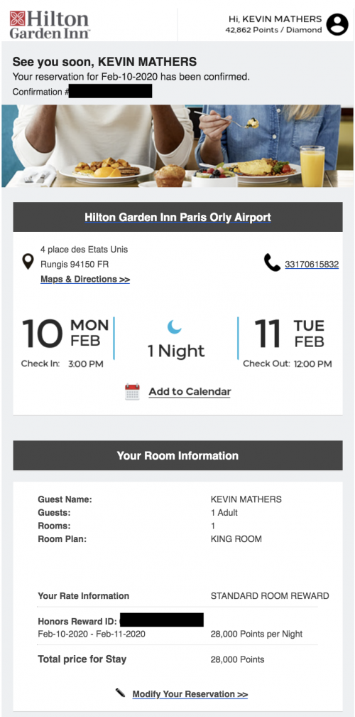 Using Hilton points to stay at the hilton garden inn orly aiport for free